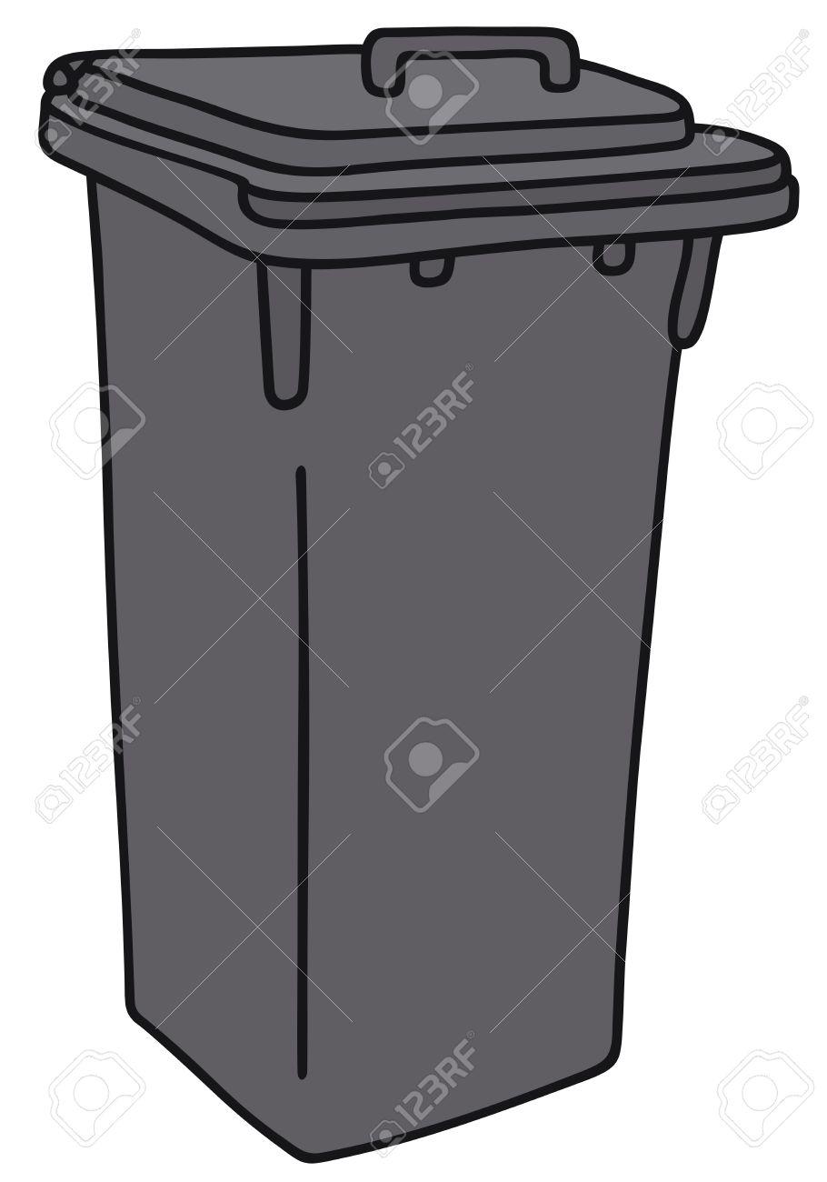 Hand Zeichnung Eines Schwarzen Plastikmulleimer Lizenzfrei Nutzbare