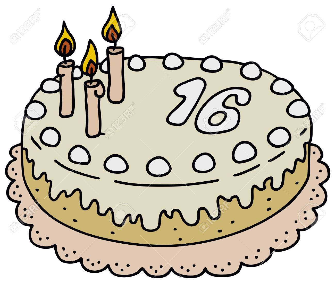 Hand Drawing Of A Birthday Cake Royalty Free Cliparts Vectors And