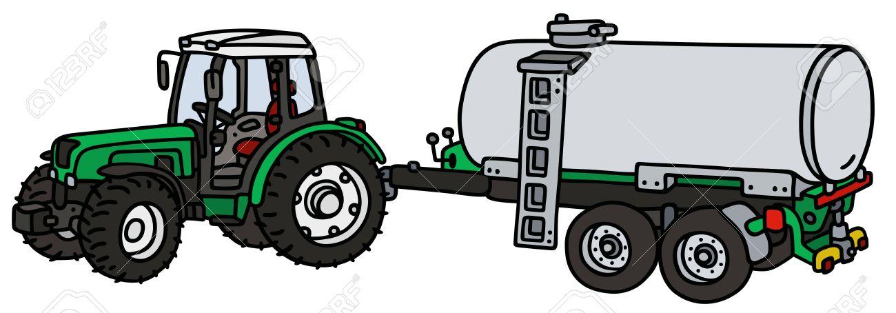 Dessin A La Main D Un Tracteur Vert Avec La Remorque Citerne Pas