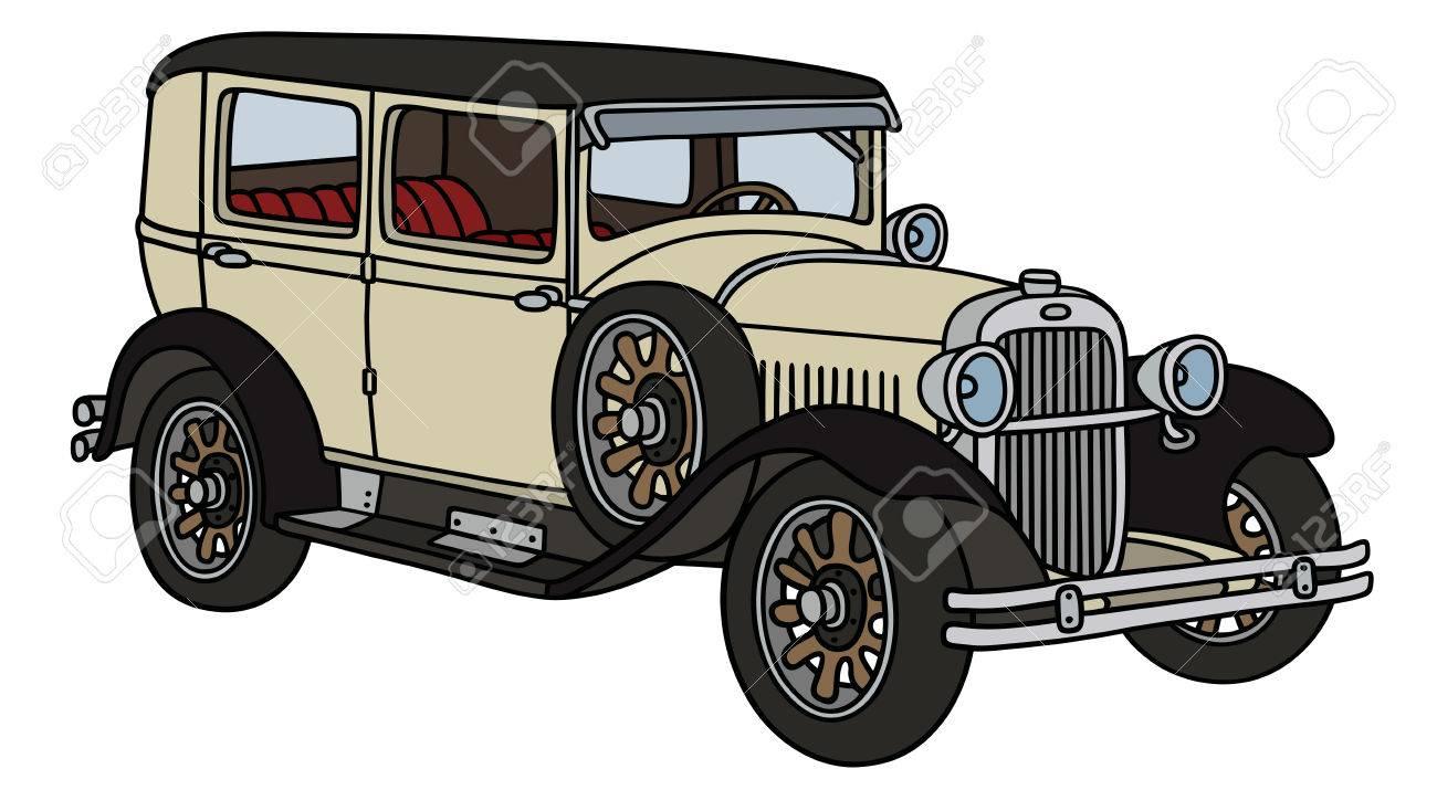 Ancienne Voiture dessin à la main d'une voiture ancienne - pas un type réel clip art