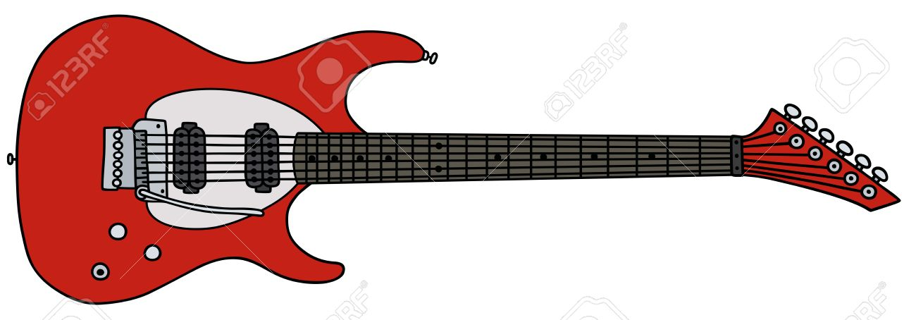 Hand Drawing Of A Red Electric Guitar Stock Vector