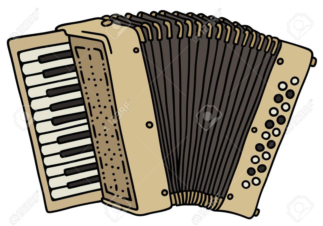 Dessin Accordéon dessin à la main d'un accordéon beige classique clip art libres de