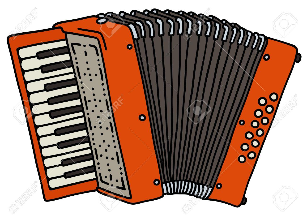 Dessin Accordéon dessin à la main d'un accordéon rouge clip art libres de droits