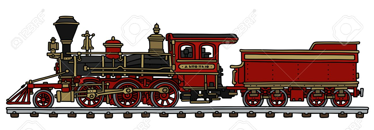 Hand Drawing Of A Classic Red American Steam Locomotive With ...
