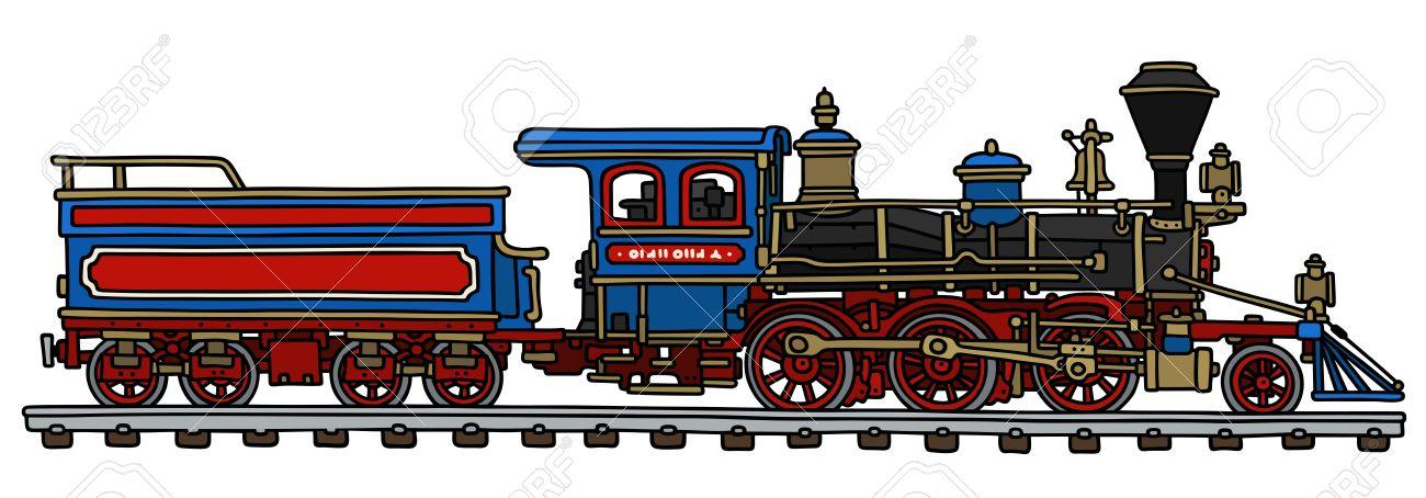 Dessin A La Main D Une Locomotive A Vapeur Classique Americain Avec Un Auvent Clip Art Libres De Droits Vecteurs Et Illustration Image 45588252