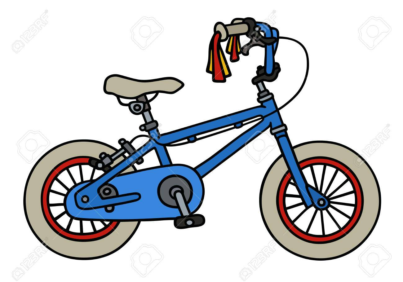 Hand Drawing Of A Blue Child Bike Royalty Free Cliparts Vectors