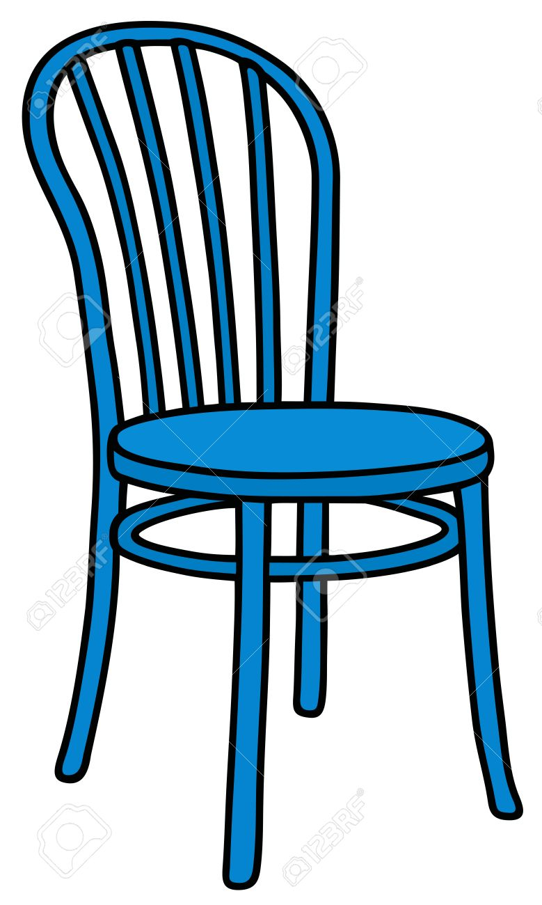 chair drawing. hand drawing of a classic blue wooden chair stock vector - 46073884