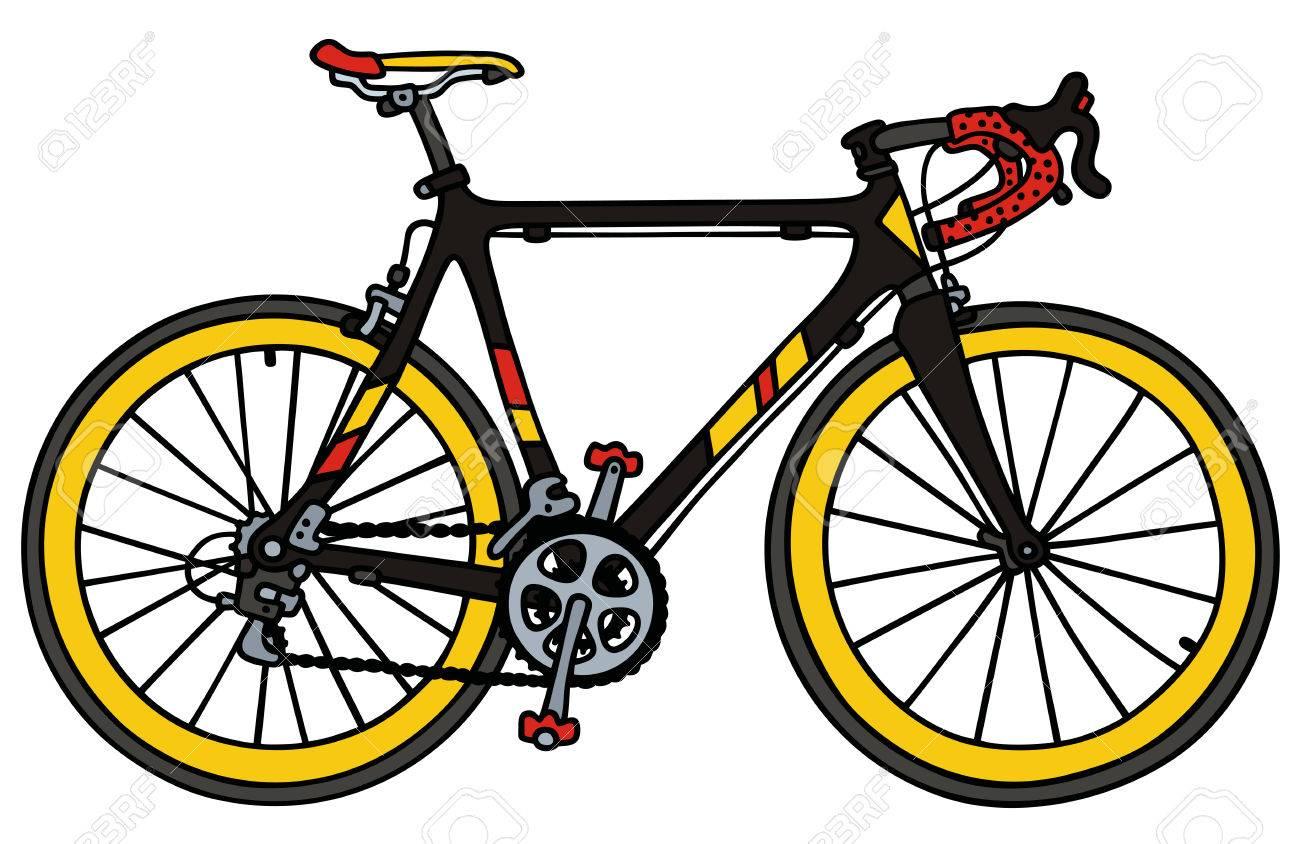 Dessin à La Main D Un Vélo De Course De Route Noire
