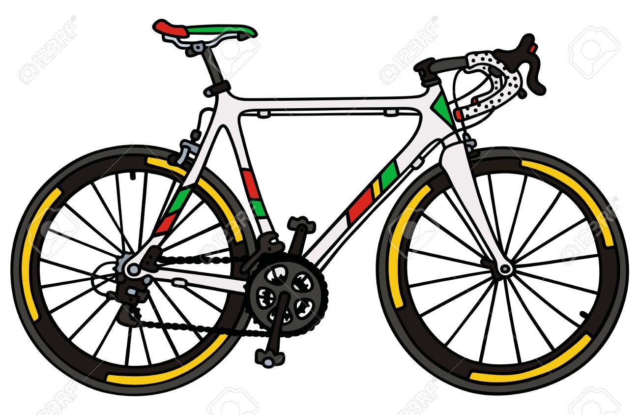 Dessin A La Main D Un Blanc Velo De Course Sur Route Clip Art Libres De Droits Vecteurs Et Illustration Image 47691827