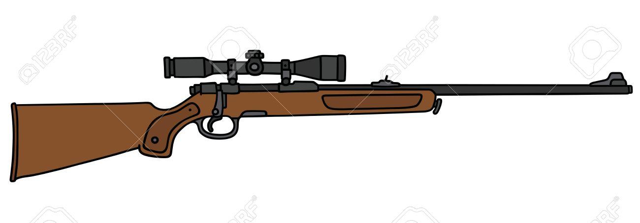 Dessin Fusil De Chasse dessin à la main d'un fusil de chasse classique avec un télescope