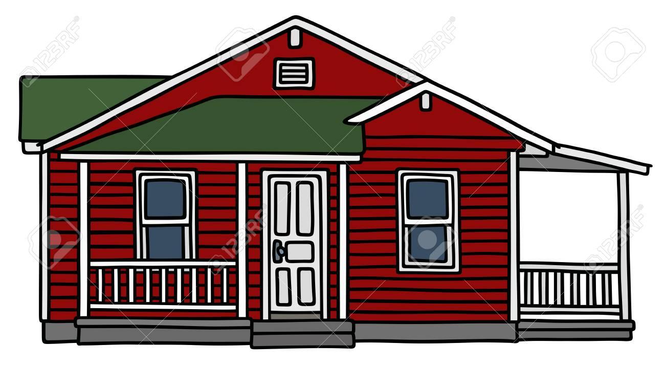 Dessin A La Main D Un Rouge Sombre Petite Maison En Bois Clip Art