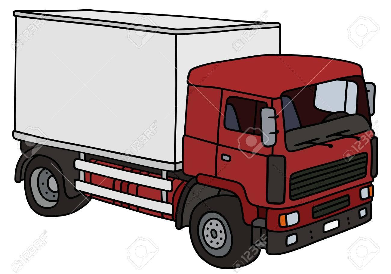 Dessin A La Main D Un Camion De Livraison Rouge Pas Un Vrai Modele Clip Art Libres De Droits Vecteurs Et Illustration Image 53687773
