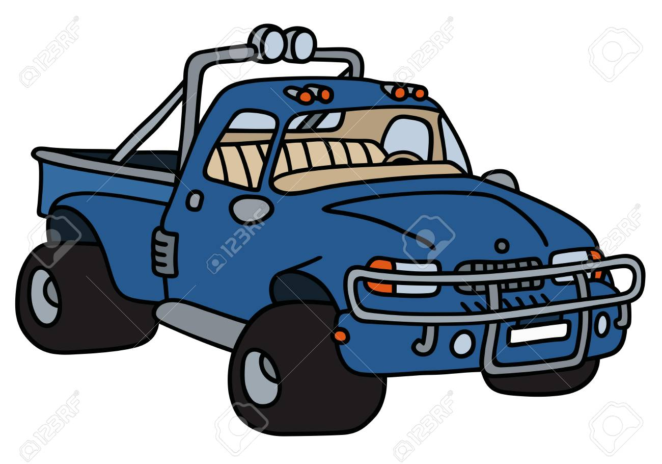 Hand Drawing Of A Funny Blue Pick Up Royalty Free Cliparts Vectors And Stock Illustration Image 53843962