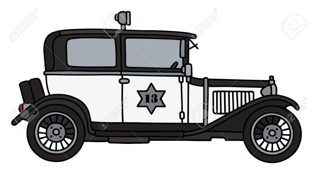 Hand Drawing Of A Vintage Police Car Royalty Free Cliparts Vectors