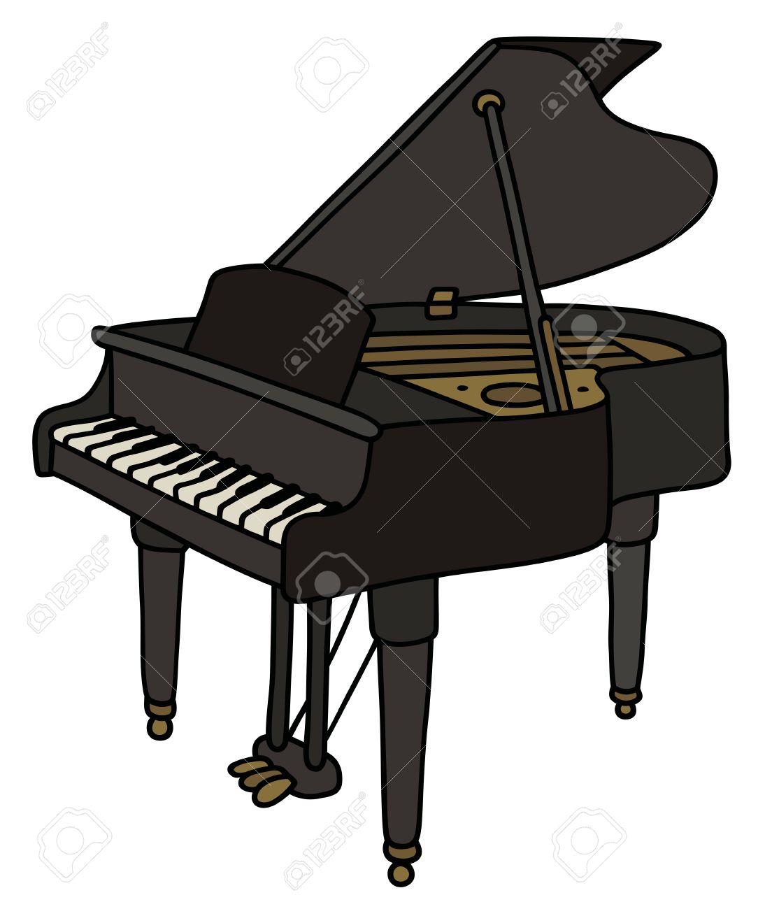 Dessin De Piano hand drawing of a classic black grand piano royalty free cliparts