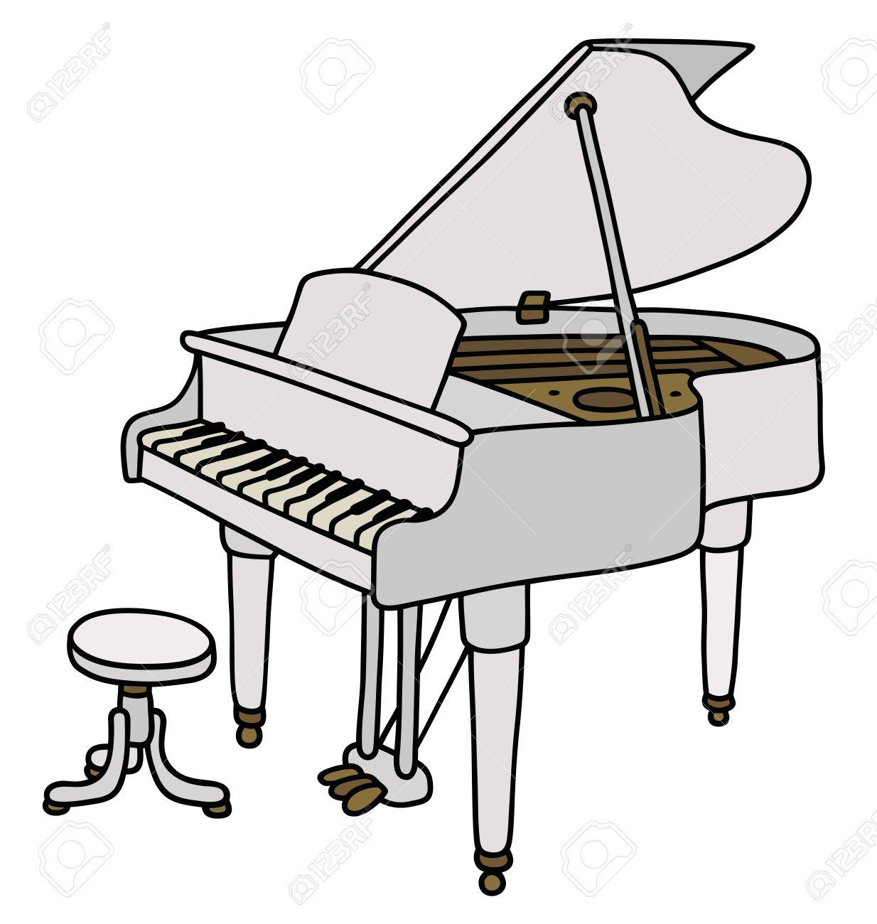 Dessin De Piano hand drawing of a classic white grand piano royalty free cliparts