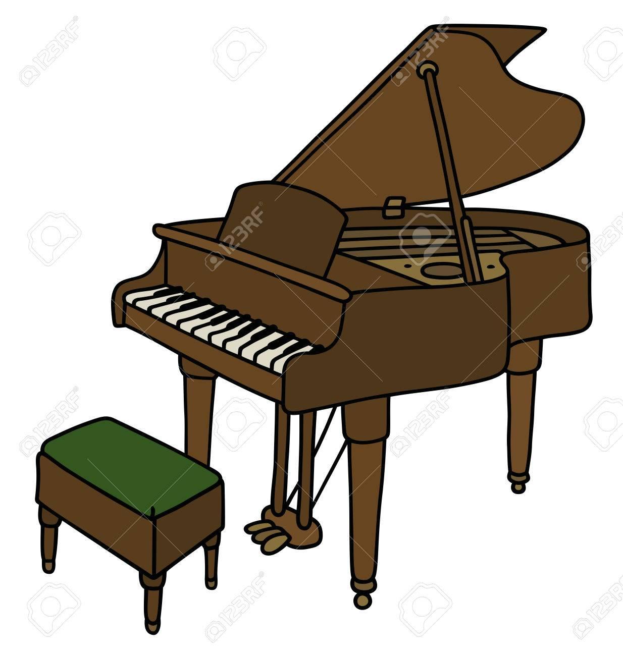 Dessin De Piano dessin à la main d'un grand piano classique clip art libres de