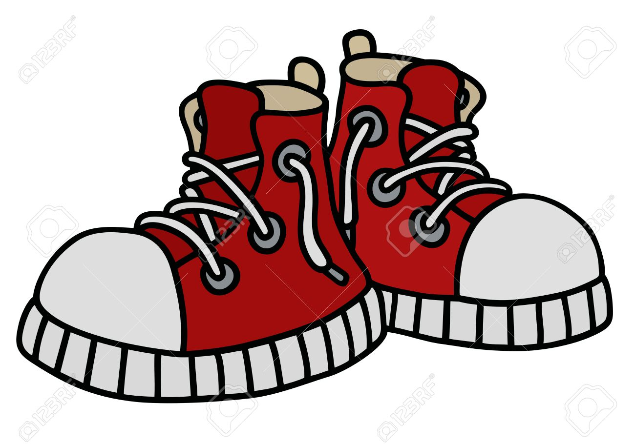 Hand drawing of a funny red sneakers - 56531515