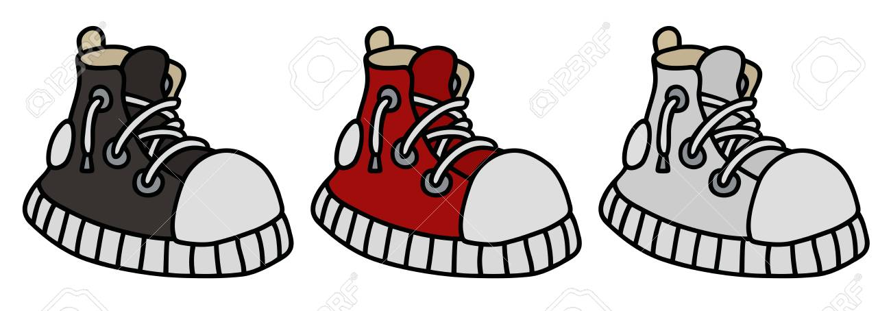 Hand Drawing Of A Funny Color Sneakers Royalty Free Cliparts ...