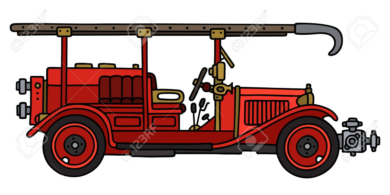 Dessin à La Main D Un Camion De Pompiers Classique