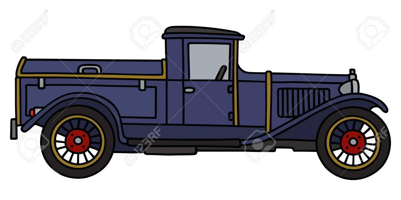 Dessin à La Main D Un Camion Poubelle Vintage Bleu
