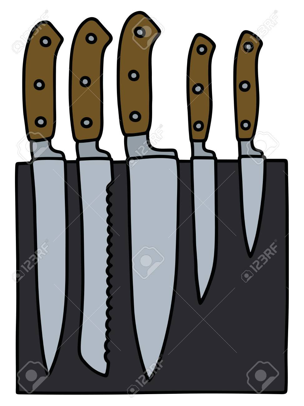 Hand Drawing Of A Set Of Kitchen Knives Royalty Free Cliparts ...