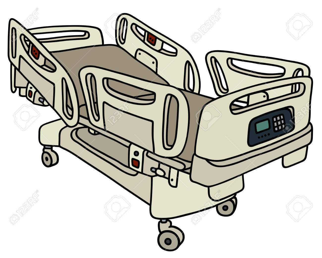 Hand Drawing Of A Hospital Position Bed Stock Vector