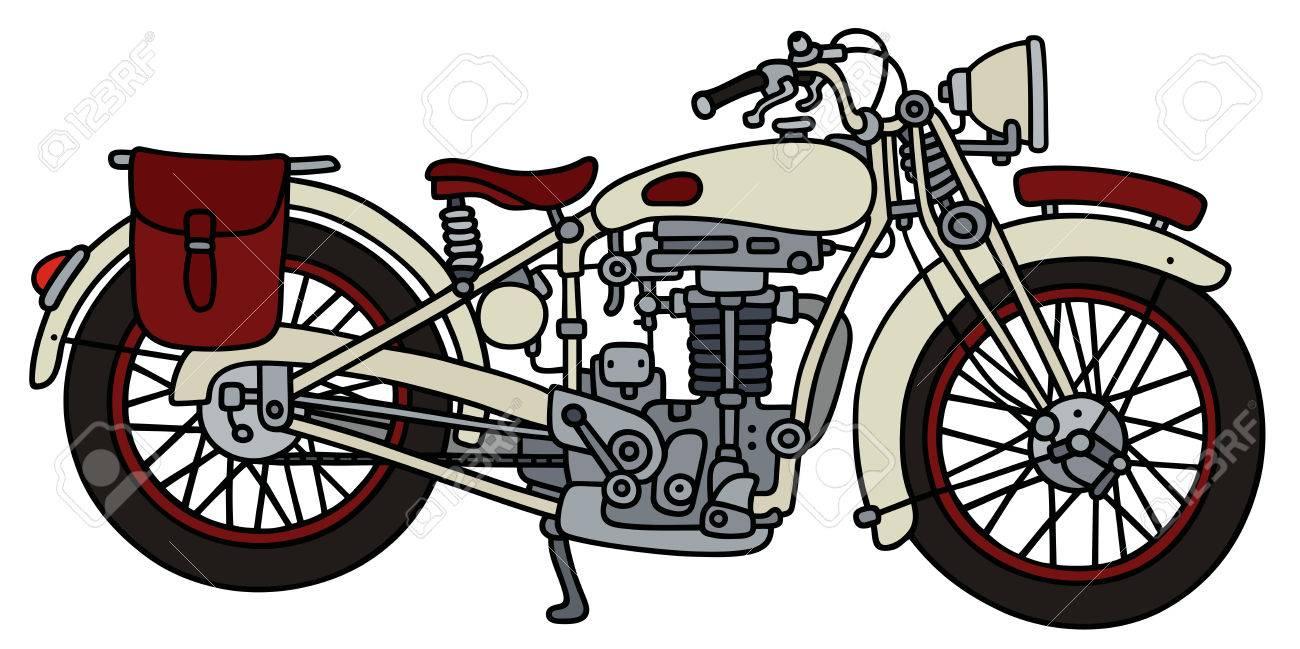 Dessin A La Main D Une Forte Moto Vintage White Clip Art Libres De Droits Vecteurs Et Illustration Image 67824992