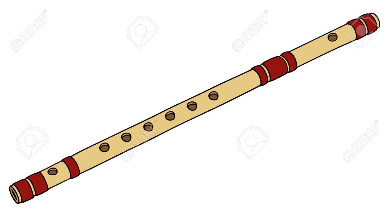 Hand Drawing Of A Classic Bamboo Flute