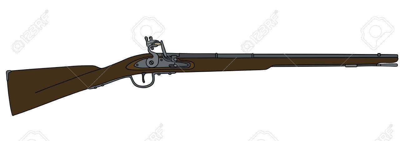 Dessin Fusil De Chasse dessin à la main d'un fusil à mèche historique clip art libres de
