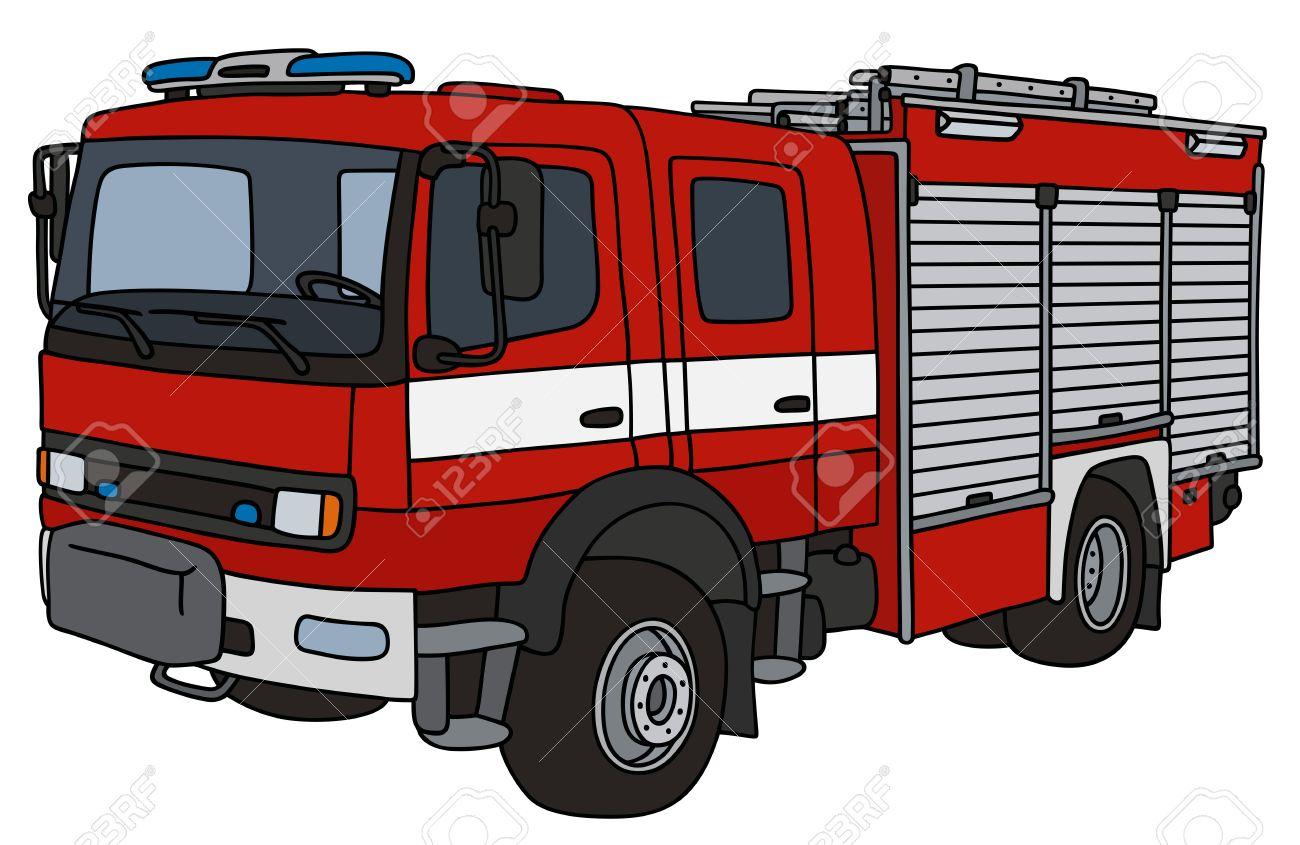Dessin A La Main D Un Camion De Pompier Clip Art Libres De Droits