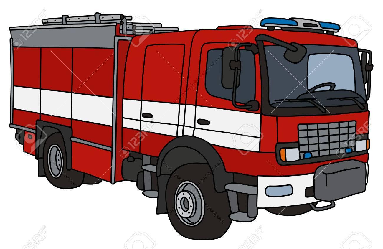 Dessin A La Main D Un Camion De Pompier Clip Art Libres De Droits Vecteurs Et Illustration Image 70778077