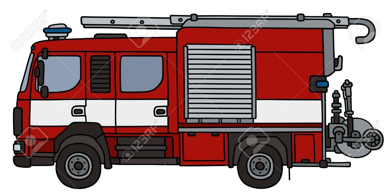 Dessin à La Main D Un Camion De Pompier Pas Un Type Réel
