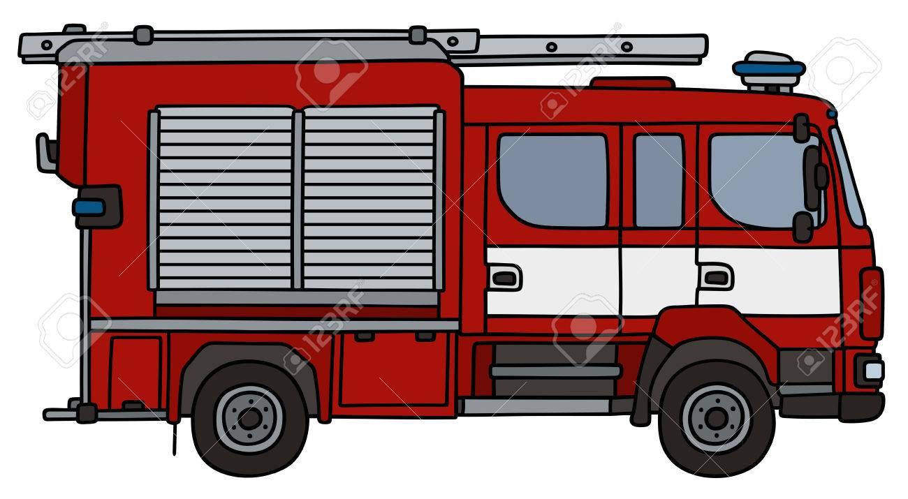 Dessin A La Main D Un Camion De Pompier Pas Un Type Reel Clip