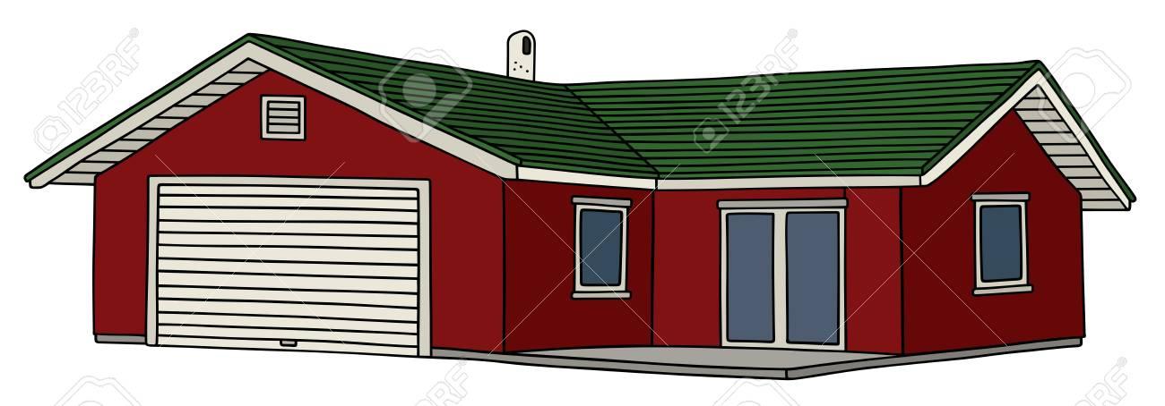 Dibujo A Mano De Una Pequeña Casa De Color Rojo