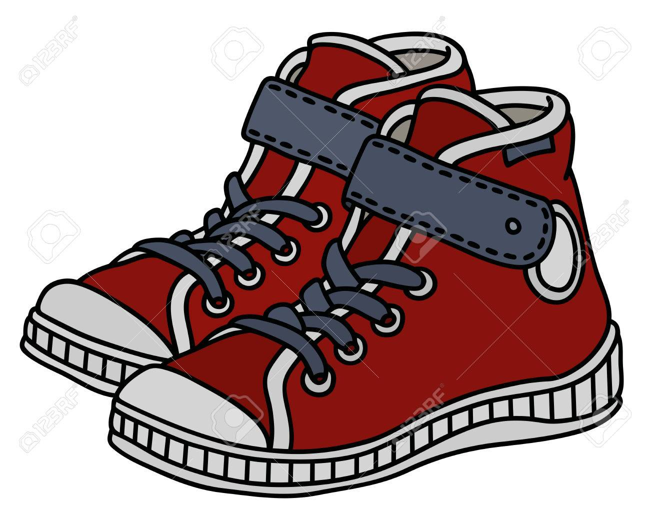 Red, white and gray childrens sneakers - 82742008