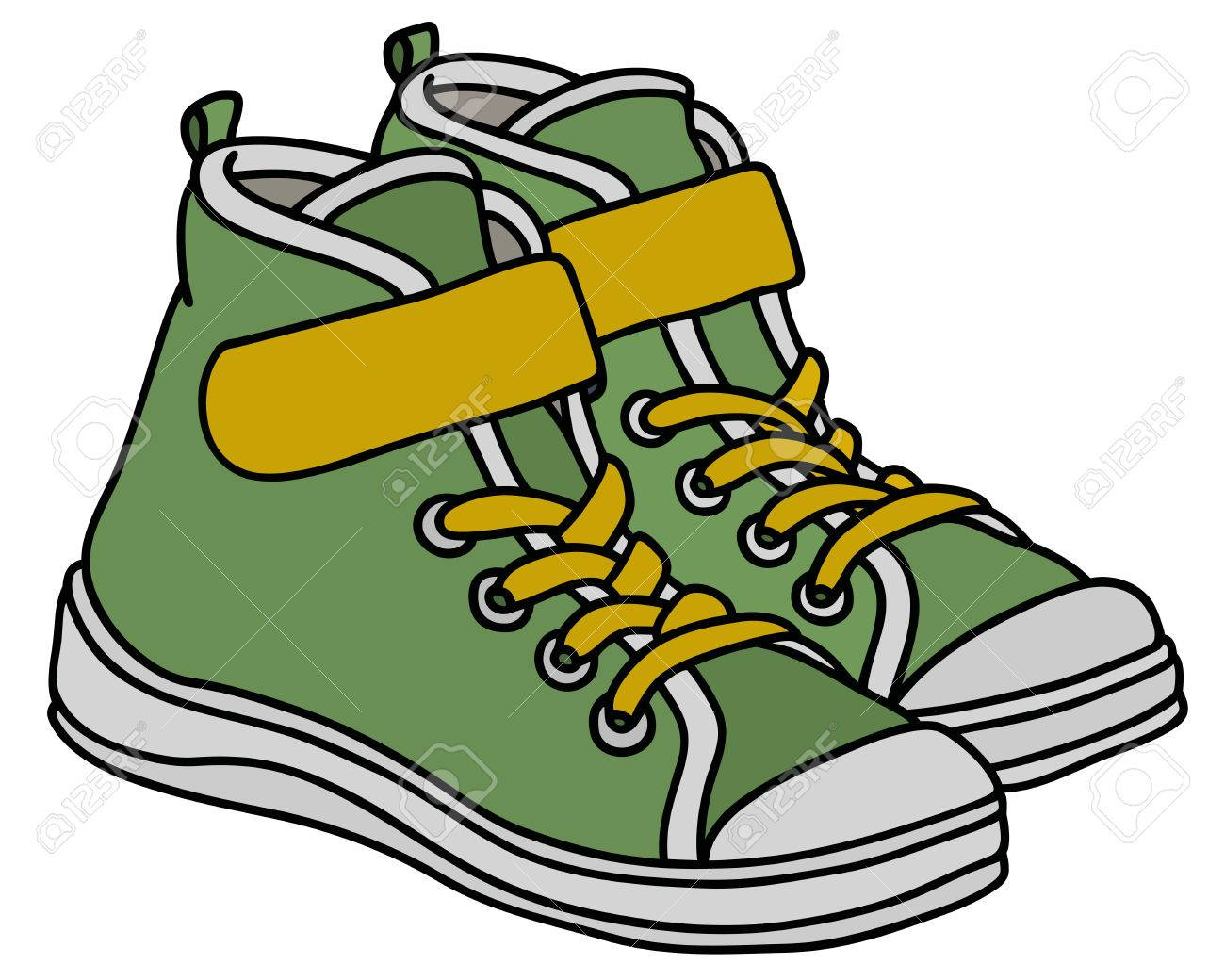 Green and yellow childrens sport shoes - 82742014
