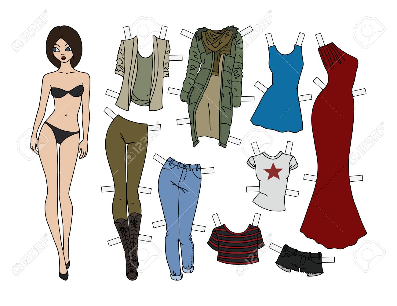 Brunette paper doll with cutout clothes, vector illustration. - 91032482