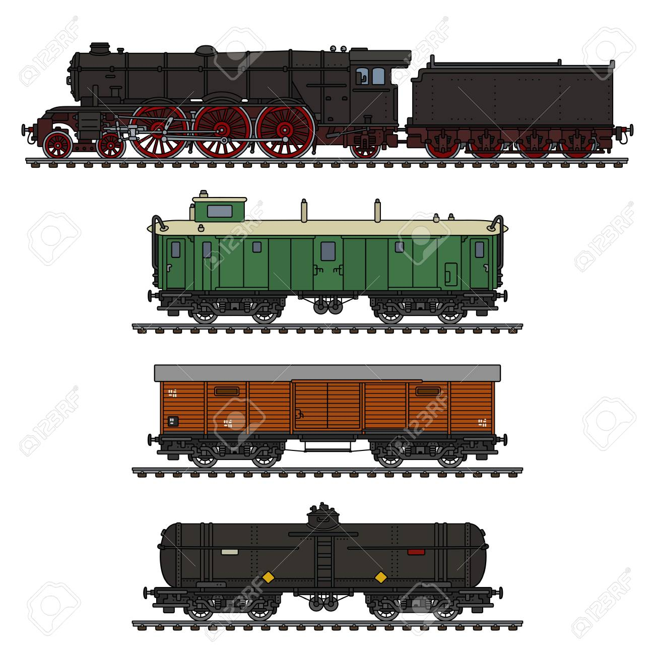 The hand drawing of a vintage freight steam train