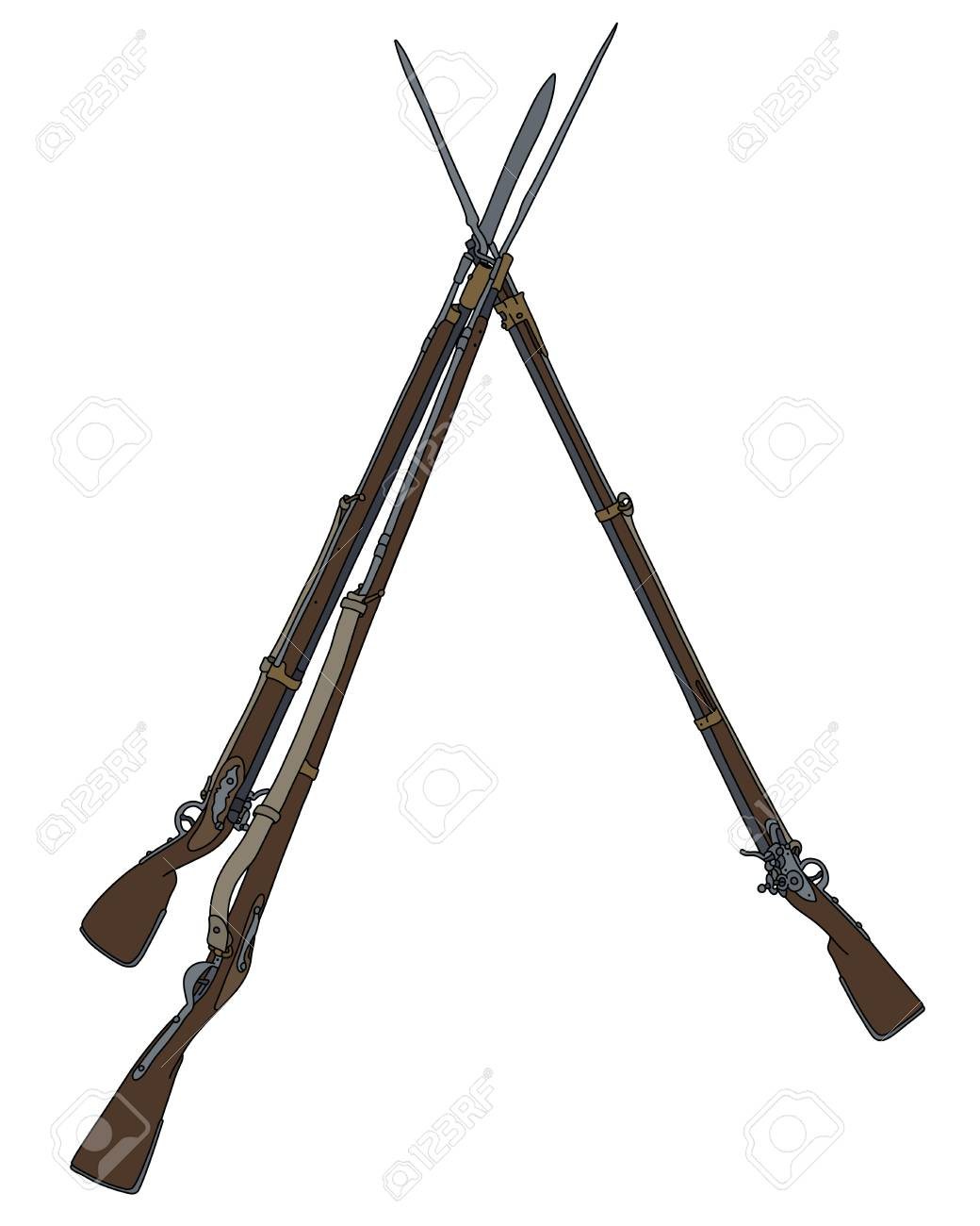 vintage military rifles built in the pyramid royalty free cliparts