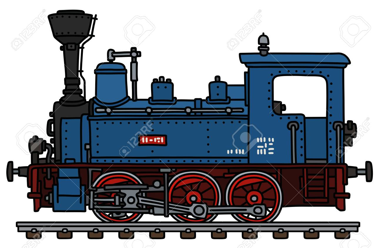 The vectorized hand drawing of a classic blue small steam locomotive - 124128130
