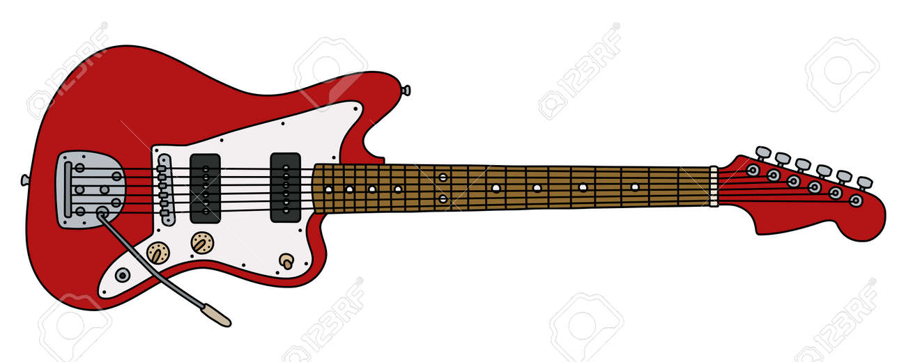 The vectorized hand drawing of a retro red electric guitar - 154270721