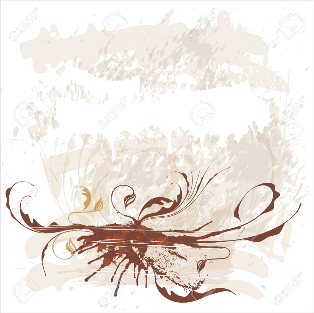 calligraphy flowers ornament on beige grunge background Stock Vector - 937511