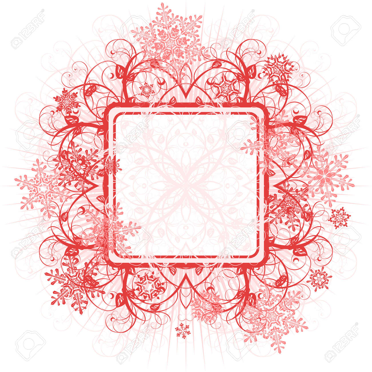 red floral frame & snowflakes Stock Vector - 2085667