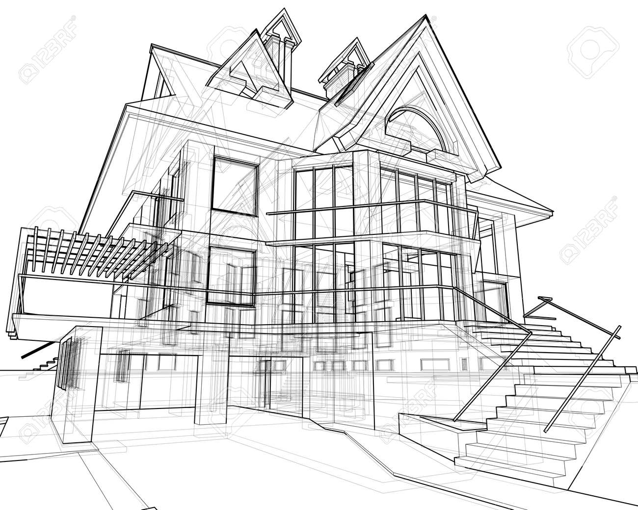 house: technical draw Stock Photo - 2479495