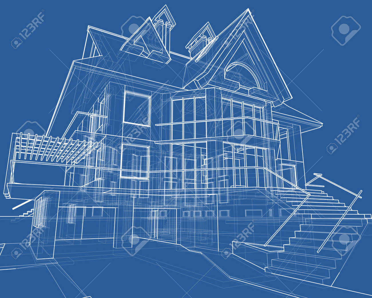 House blueprint 3d technical draw stock photo picture and house blueprint 3d technical draw stock photo 2886142 malvernweather Images