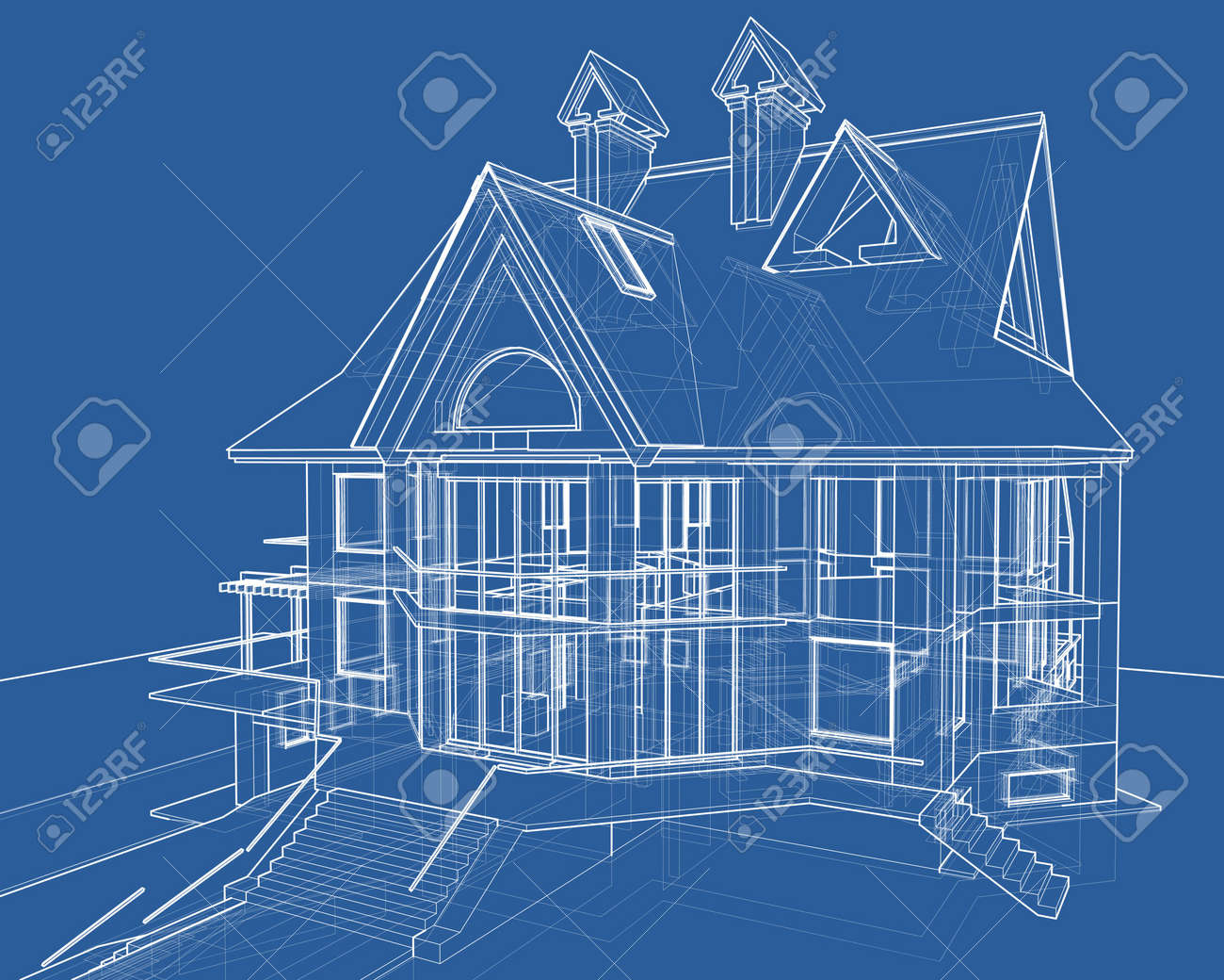 House blueprint 3d technical draw stock photo picture and royalty house blueprint 3d technical draw stock photo 2886140 malvernweather Gallery