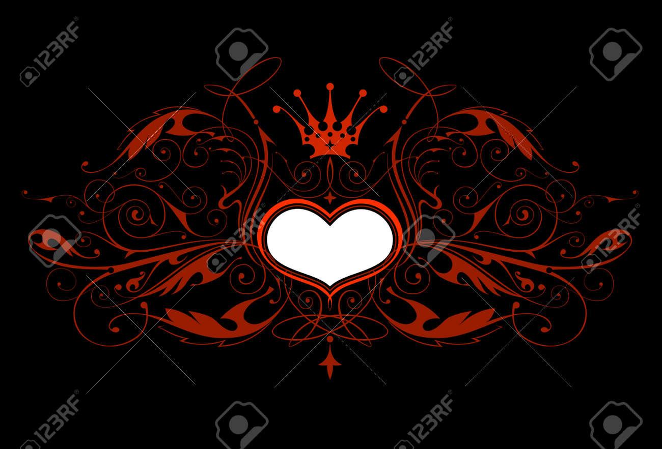Vintage emblem with heart & black background Stock Vector - 3377862