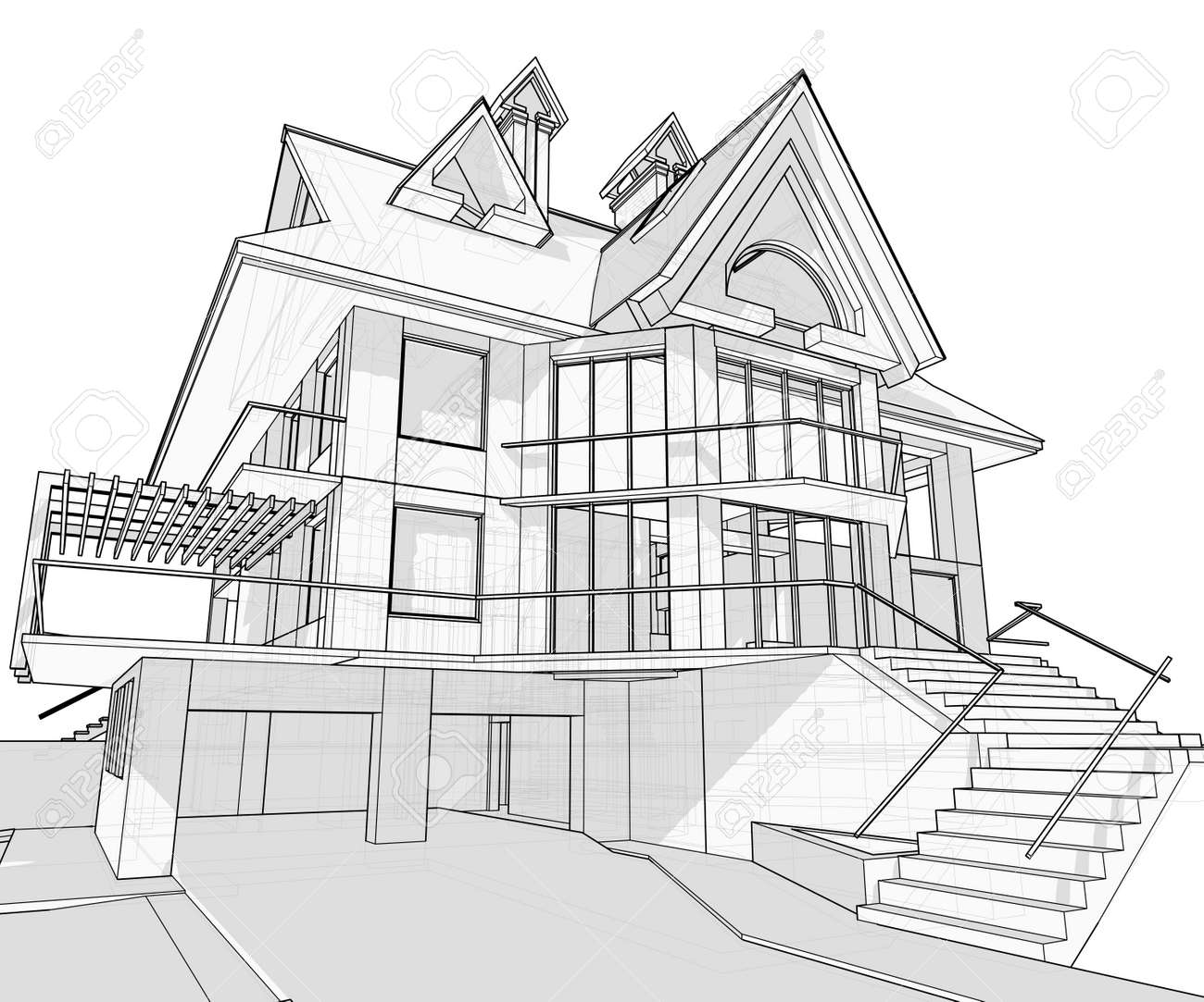 House Vector Technical Draw Stock Vector 3377878