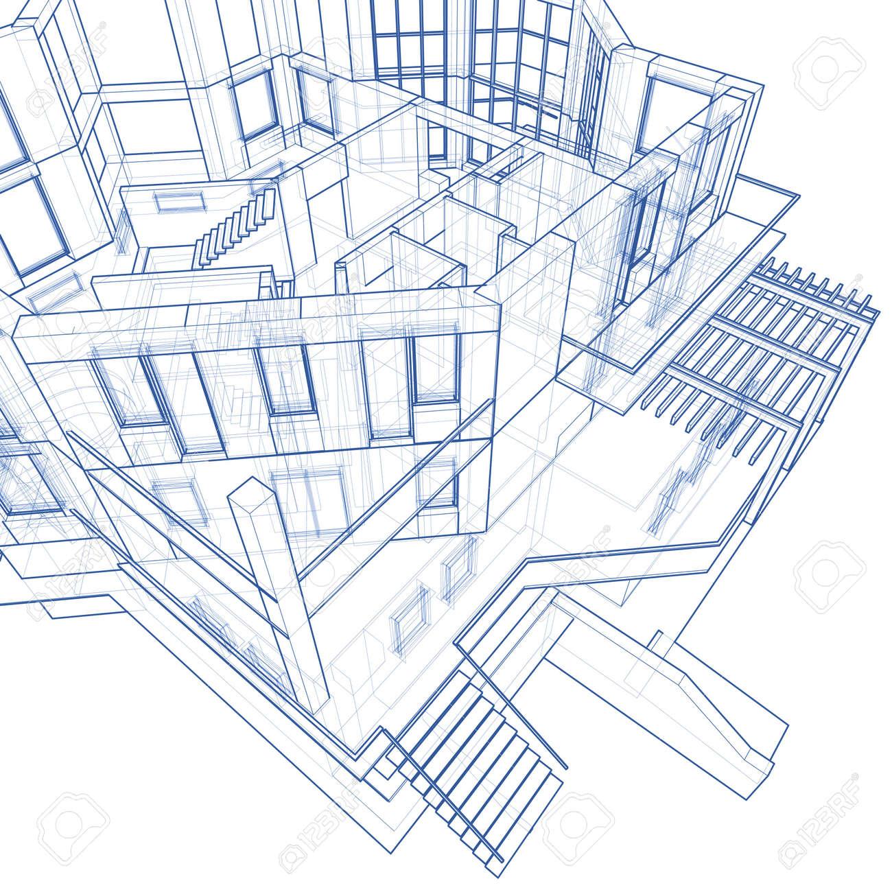 3d blueprint house vector technical draw stock photo picture and 3d blueprint house vector technical draw stock photo 3750089 malvernweather Choice Image